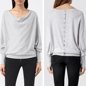All Saints Elgar Cowl Neck Sweater Pale Grey